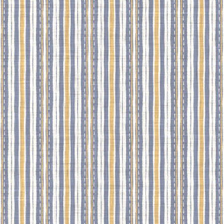 Seamless french blue yellow farmhouse style stripes texture. Woven linen cloth pattern background. Line striped closeup weave fabric for kitchen towel material. Pinstripe fiber picnic table cloth