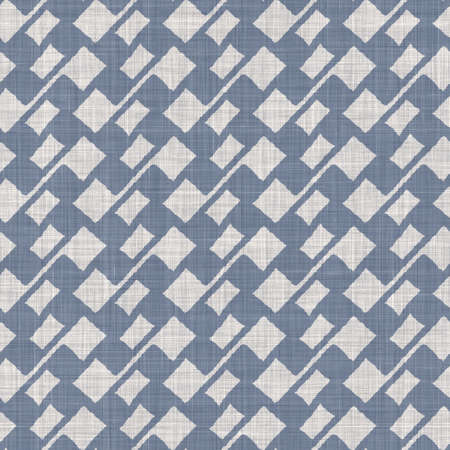 Seamless french farmhouse linen geometric block print background. Provence blue gray rustic pattern texture. Shabby chic style old woven blur textile all over print. Stock fotó
