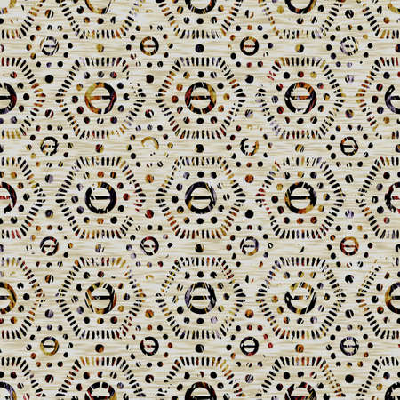 Seamless sepia grunge geometric print texture background. Distressed fabric pattern textile material. Grunge rough blur geo linen all over print