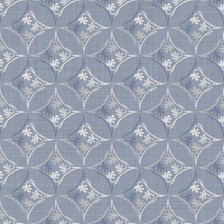 Seamless french farmhouse damask linen pattern. Provence blue white woven texture. Shabby chic style decorative fabric background. Textile rustic all over print Stock fotó