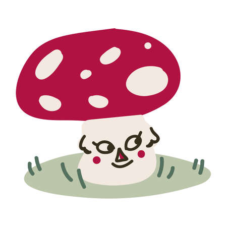 Cute cartoon toadstool mushroom with face monochrome lineart vector illustration. Simple fly agaric sticker clipart. Kids poisonous fungi hand drawn kawaii mycology.