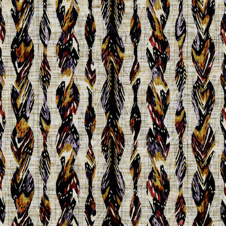 Seamless sepia grunge stripe print texture background. Worn mottled linear striped pattern textile fabric. Grunge rough blur linen all over print