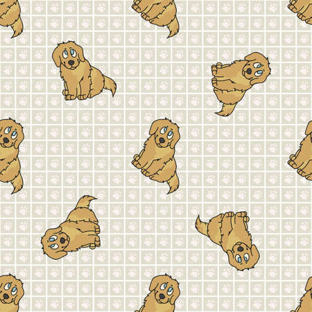 Hand drawn cute golden retriever breed puppy seamless vector pattern. Purebred pedigree puppy domestic dog on paw background. Dog lover toy spaniel pet all over print.