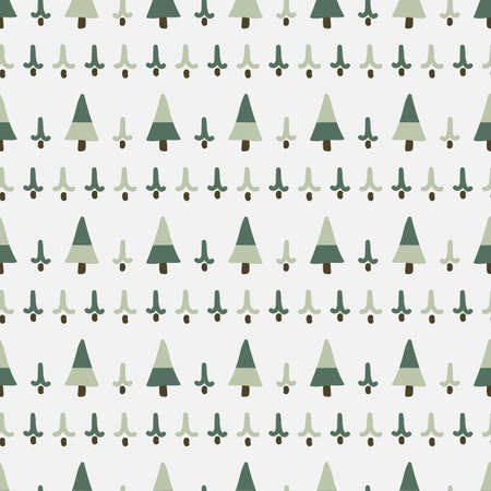 Cute gender neutral pine tree seamless vector pattern. Conifer christmas tree home decor cartoon holiday woodland. Evergree fir all over print.