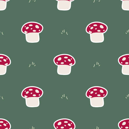 Cute gender neutral toadstool vector pattern. Fungi fly agaric home decor cartoon mushroom. Seamless boho poisonous mycology all over print.