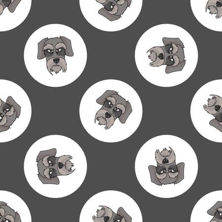 Hand drawn cute Schnauzer dog face breed in polka dot seamless vector pattern. Purebread pedigree puppy domestic on dotty background. Dog lover German head all over print. Kennel club pooch.