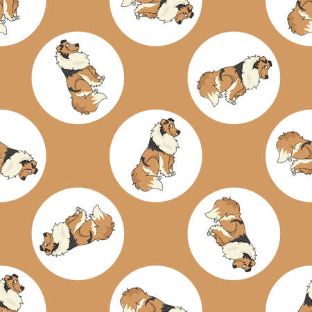 Hand drawn cute Rough Collie dog breed in polka dot seamless vector pattern. Purebread pedigree puppy domestic on dotty background. Dog lover toy dog all over print. Kennel club pooch.