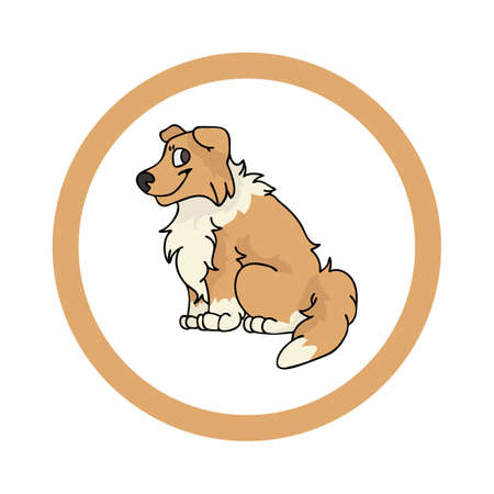 Cute cartoon Scootish Collie in dotty circle puppy vector clipart. Pedigree kennel doggie breed for kennel club. Purebred domestic dog training for pet parlor. Illustration mascot. Isolated canine.
