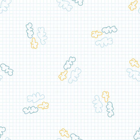 Cute rainbow scribble cloud kids doodle background. Hand drawn whimsical motif seamless pattern. Naive simple happy character cartoon for minimal baby fashion, nursery decor, neutral unisex.
