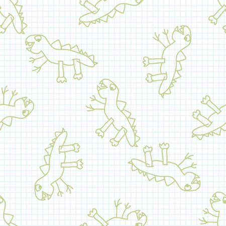Cute rainbow scribble dino kids doodle background. Hand drawn whimsical motif seamless pattern. Naive simple happy character cartoon for minimal baby fashion, nursery decor, neutral unisex.