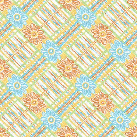 Watercolor daisy motif background. Hand painted earthy whimsical seamless pattern. Modern floral linen textile for spring summer home decor. Decorative scandi style colorful nature all over print