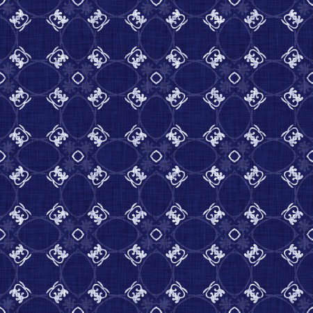 Seamless indigo geometric texture. Navy blue woven geo shape cotton dyed effect background. Japanese repeat batik resist abstract motif pattern. Asian fusion all over textile blur cloth print. Archivio Fotografico