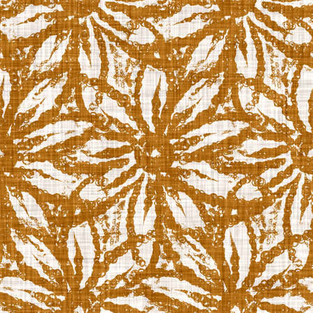 Watercolor orange flower motif background. Hand painted earthy whimsical seamless pattern. Modern floral linen textile for spring summer home. Decorative scandi style colorful nature all over print