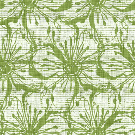 Watercolor green flower motif background. Hand painted earthy whimsical seamless pattern. Modern floral linen textile for spring summer home decor. Decorative scandi style nature all over print
