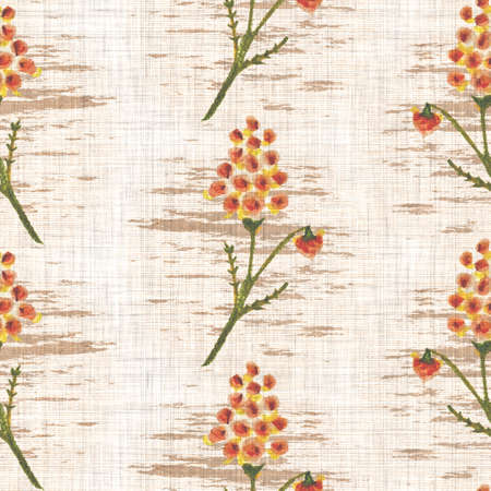 Watercolor flower motif background. Hand painted earthy whimsical seamless pattern. Modern floral linen textile for spring summer home decor. Decorative scandi style colorful nature all over print Archivio Fotografico - 162197406