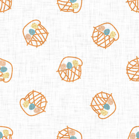 Cute crayon scribble easter egg basket doodle background. Hand drawn earthy whimsical motif seamless pattern. Naive simple character cartoon for minimal baby nursery. Neutral scandi style unisex print