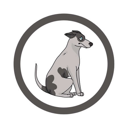 Cute cartoon Greyhound in dotty circle dog vector clipart. Pedigree kennel doggie breed for kennel club. Purebred domestic dog training for pet parlor. Illustration mascot. Isolated canine. Vettoriali