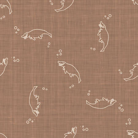 Seamless background Mosasaurus dinosaur gender neutral baby pattern. Simple whimsical minimal earthy 2 tone color. Kids nursery wallpaper or boho cartoon animal fashion all over print.