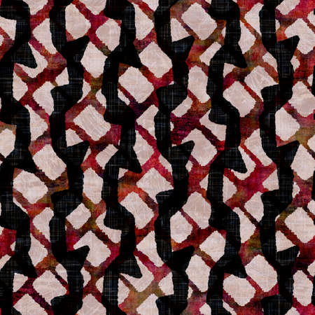 Seamless dark   stripe block print background. Boho ethnic soft furnishing fabric style. Tie dye decorative zig zag motif pattern textile. Grunge winter blur raster jpg swatch all over print. Archivio Fotografico - 162197681