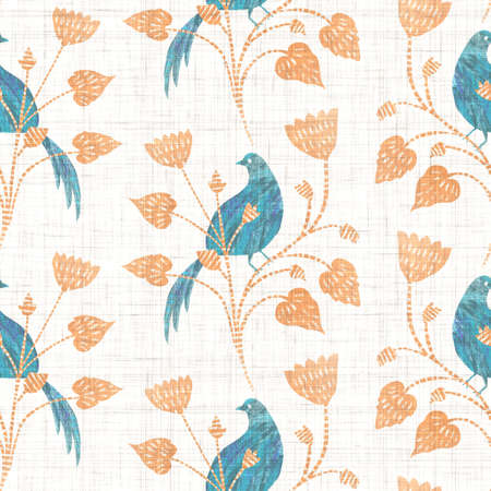 Watercolor bird flower motif background. Hand painted earthy whimsical seamless pattern. Modern floral linen textile for spring summer home decor Decorative scandi style colorful nature all over print Archivio Fotografico