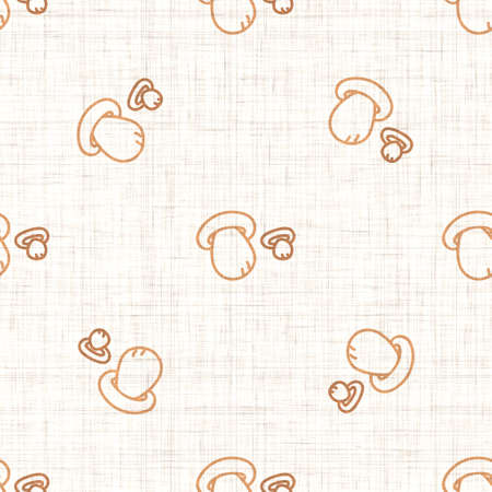 Seamless background cep mushroom gender neutral pattern. Whimsical minimal earthy 2 tone color. kids nursery wallpaper or boho cartoon fungi fashion all over print. Archivio Fotografico