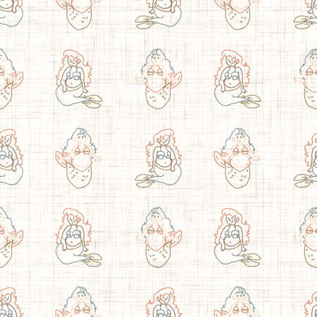 Seamless background sitting mermaid gender neutral baby pattern. Simple whimsical minimal earthy color. Kids nursery wallpaper or boho cartoon animal fashion.
