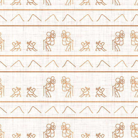 Seamless background stick figures hiking with dog gender neutral pattern. Whimsical minimal earthy 2 tone color. kids nursery wallpaper or boho cartoon camping fashion all over print.