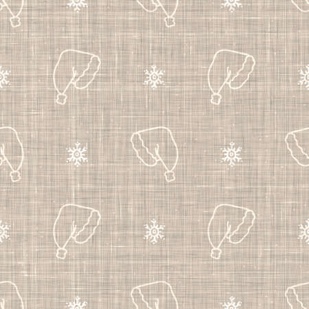 Seamless christmas hat holiday background. Simple snow monochrome festive pattern texture. Scandi christmas motif background. Stylish modern seasonal gift wrapping paper.