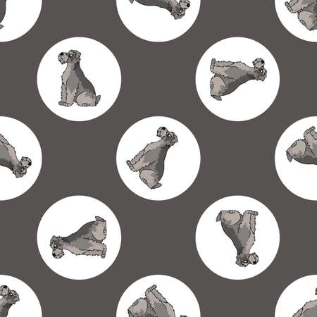 Hand drawn cute schnauzer dog breed in polka dot seamless vector pattern. Purebred pedigree puppy domestic on dotty background. Dog lover terrier all over print. Kennel club pooch. Illustration