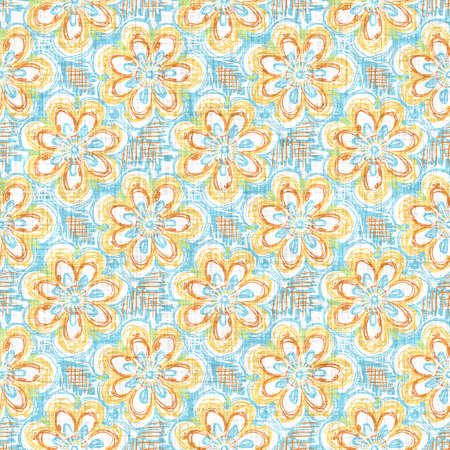 Watercolor flower motif background. Hand painted earthy whimsical seamless pattern. Modern floral linen textile for spring summer home decor. Decorative scandi style colorful nature all over print Banque d'images - 162883985