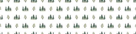 Seamless background christmas fir tree gender neutral baby border. Simple scandi pine forest earthy 2 tone banner. Kids nursery festive everygreen woodland edging fashion trim.