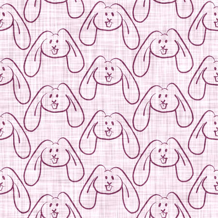 Cute purple bunny scribble kid doodle background. Hand drawn whimsical rabbit motif seamless pattern. Naive simple character cartoon for minimal baby, nursery decor, neutral unisex scrapbook paper 免版税图像