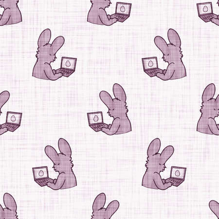 Cute bunny scribble kid doodle background. Hand drawn whimsical rabbit motif seamless pattern. Naive simple character cartoon for minimal baby, nursery decor, neutral unisex scrapbook paper