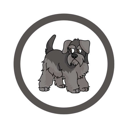 Cute cartoon Schnauzer in circle puppy vector clipart. Pedigree kennel doggie breed for kennel club. Purebred domestic dog training for pet parlor. Illustration mascot. Isolated canine. Illustration