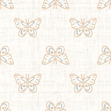 Seamless background butterfly gender neutral pattern. Whimsical minimal earthy 2 tone color. kids nursery wallpaper or boho cartoon bug fashion all over print.