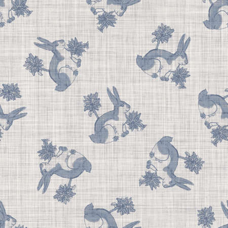 Seamless french farmhouse bunny linen printed fabric background. Provence blue pattern texture. Shabby chic style woven background. Textile rustic scandi all over print effect. Watercolor paint motif 免版税图像