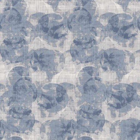 Seamless french farmhouse geo abstract linen printed fabric background. Provence blue gray pattern texture. Shabby chic style woven background. Textile rustic scandi all over print effect. Watercolor. 免版税图像