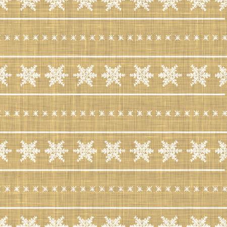 Seamless winter snowflake background pattern. Simple gender neutral linen nursery festive scrapbook digital paper. Kids whimsical snowflake wallpaper all over print.