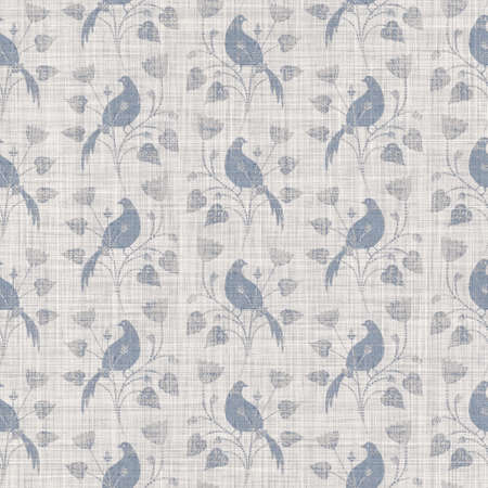 Seamless french farmhouse bird foliage linen printed fabric background. Gray pattern texture. Shabby chic style woven background. Textile rustic scandi all over print effect. Watercolor paint motif