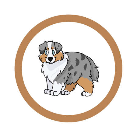 Cute cartoon Australian Shepherd in circle dog vector clipart. Pedigree kennel doggie breed for kennel club. Purebred domestic dog training for pet parlor. Illustration mascot. Isolated canine. 矢量图像
