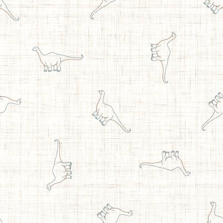 Seamless background Whimsical Apatosaurus dinosaur gender neutral baby pattern. Simple minimal earthy 2 tone color. Kids nursery wallpaper or boho cartoon animal fashion all over print.