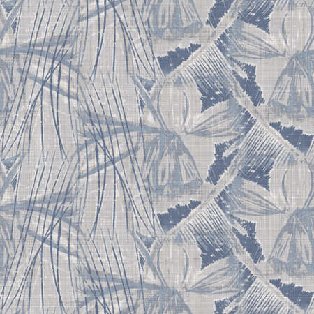 Seamless french farmhouse geo abstract linen printed fabric background. Provence blue gray pattern texture. Shabby chic style woven background. Textile rustic scandi all over print effect. Watercolor. 版權商用圖片