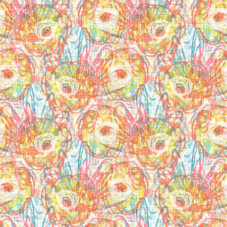 flower motif background. earthy whimsical seamless pattern. Modern floral linen textile for spring summer home decor.