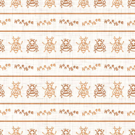 Seamless background bumble bee insect gender neutral pattern. Whimsical minimal earthy 2 tone color. Kids nursert wallpaper or boho cartoon bug fashion all over print.