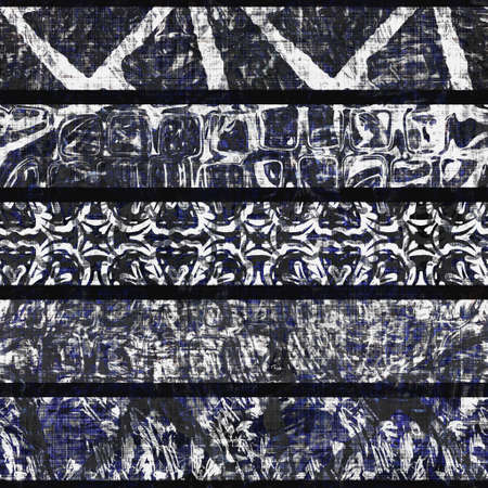 Monochrome summer patchwork stripe woven texture. Grunge vintage printed black white cotton textile effect. Patched distressed home decor background. Quilt stitch all over fabric print material