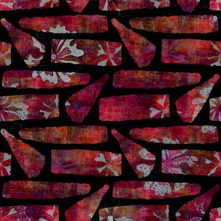 Seamless dark geometric block print background. Boho ethnic soft furnishing fabric style. Tie dye painterly decorative pattern textile. Space dyed blur geo raster jpg swatch all over print. Archivio Fotografico