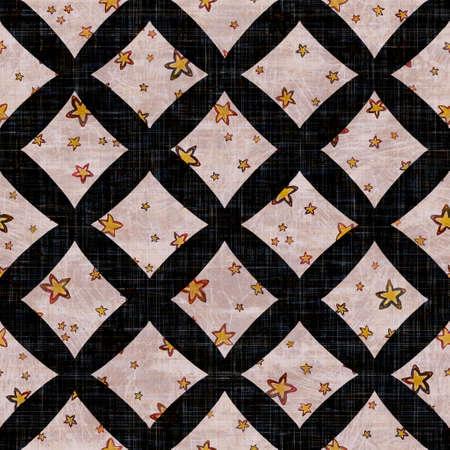 Seamless dark check mosaic block print background. Boho ethnic soft furnishing fabric style. Tie dye decorative grid motif pattern textile. Grunge winter blur raster jpg swatch all over print.