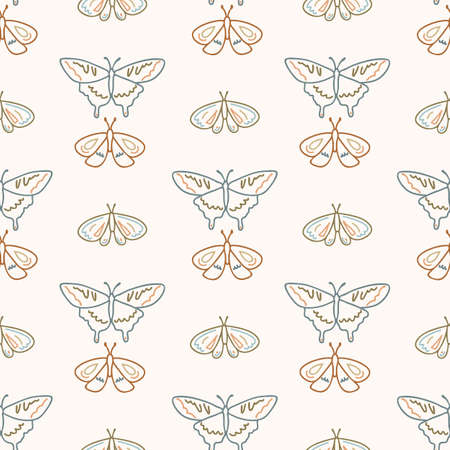 Seamless background swallow tail butterfly gender neutral pattern. Whimsical minimal earthy 2 tone color. kids nursery wallpaper or boho cartoon insect fashion all over print.