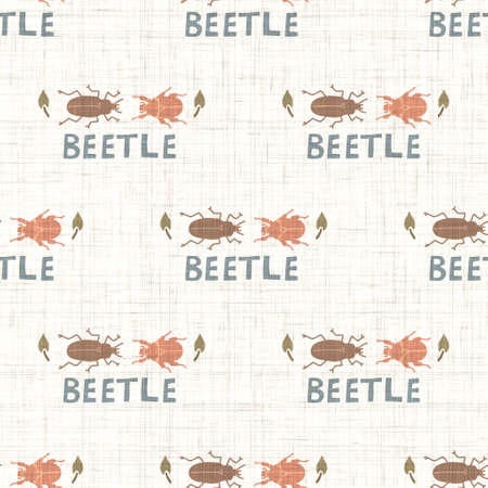Seamless background bug insect gender neutral pattern. Whimsical minimal earthy 2 tone color. kids nursery wallpaper or boho cartoon insect beetle fashion all over print.