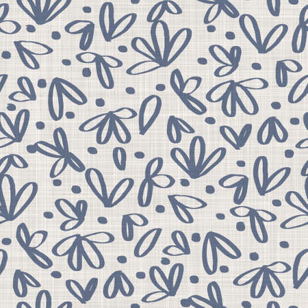 Seamless french farmhouse linen printed floral damask background. Provence blue gray linen pattern texture. Shabby chic style woven blur background. Textile rustic all over print